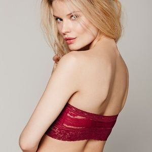 FREE PEOPLE Intimately Red Lace Bralette Strap
